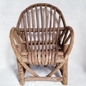 Handmade Arched Heart Shaped Miniature Wood Chair